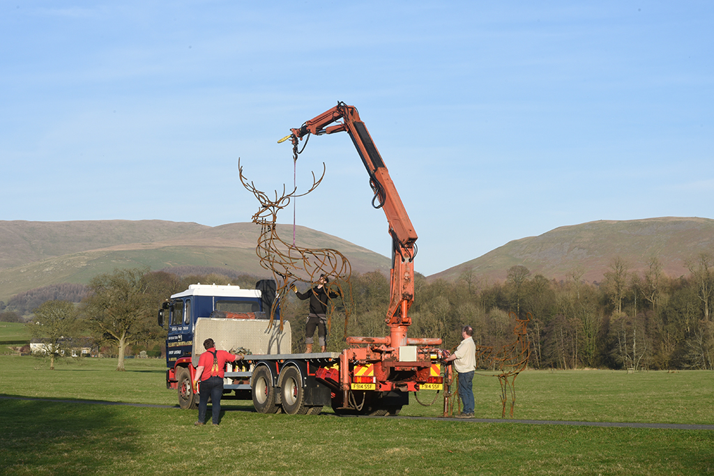 Installing the Large Stag via a crane