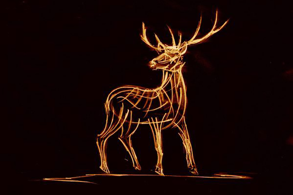 Sketch of Watchful Stag by Andrew Kay Sculpture