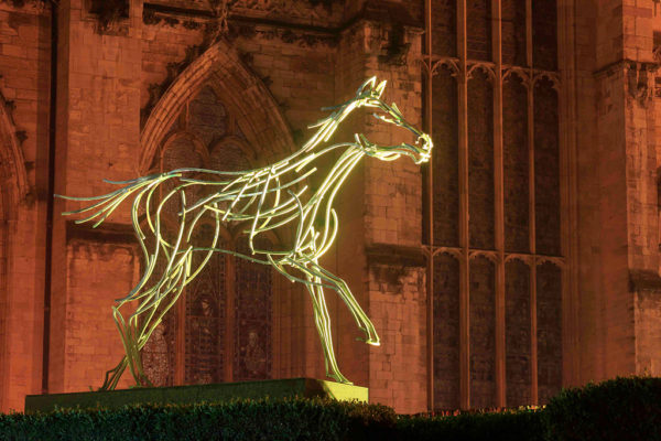 Stallion Wildlife Sculpture by Andrew Kay in front of York Minster
