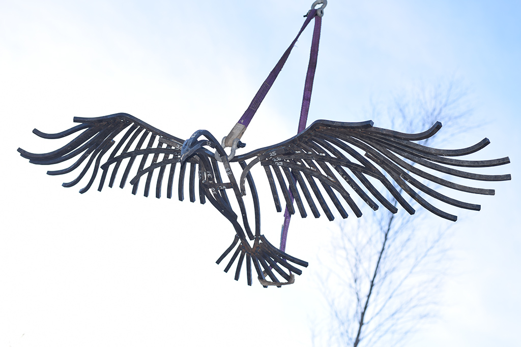 Golden Eagle Sculpture moving into place at the National Trust