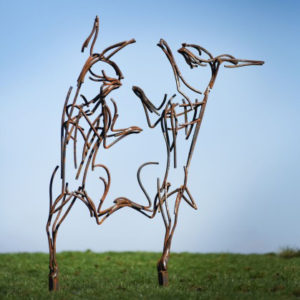 Two hares boxing metal Wildlife Sculpture