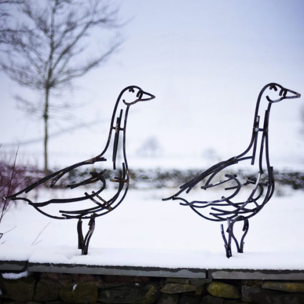 Two Geese standing in the snow in the middle of winter