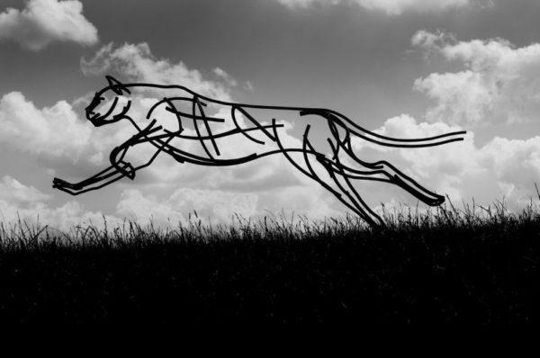 Wildlife Sculpture – Cheetah running through the fields at dusk