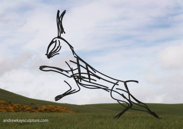 Wildlife Sculpture. Hare running through the Yorkshire Moors by Andrew Kay Sculpture