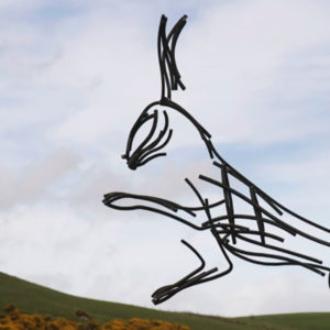 Wildlife Sculpture of Hare running through the Yorkshire Moors by Andrew Kay Sculpture