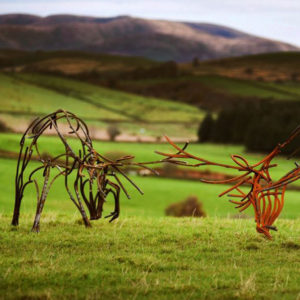 Two stags, heads bent low engaged in a rut. Metal Wildlife Sculpture by Andrew Kay Sculpture
