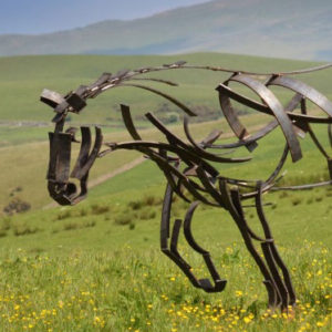 Shire Horse plodding through a field of buttercups. Metal Wildlife Sculpture by Andrew Kay Sculpture